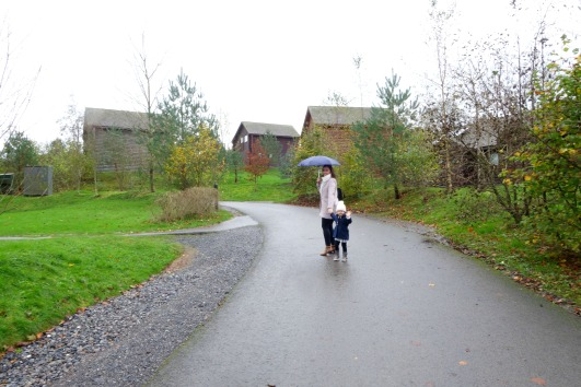 Ava and Mummy out in the rain at Bluestone Wales