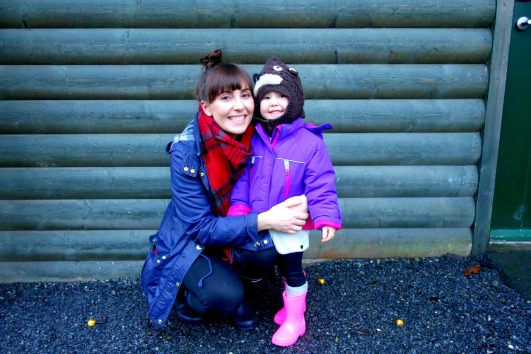 Ava and Mummy outside our lodge at Bluestone Wales