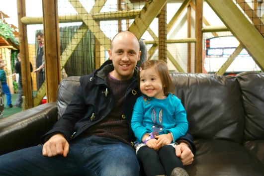 Daddy and Ava in the Adventure Centre at Bluestone Wales