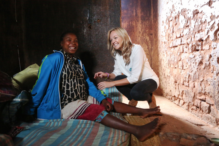 High Profile Supporter Emma Bunton with Lantosoa Rasolofomandrindra (24) who is in labour at the Ankadinandriana Health Center. Pampers and UNICEF '1 pack = 1 vaccine' campaign to support the fight against Maternal & Newborn Tetanus. Ankadinandriana, Madagascar. 25th July 2014. Picture by Jordi Matas