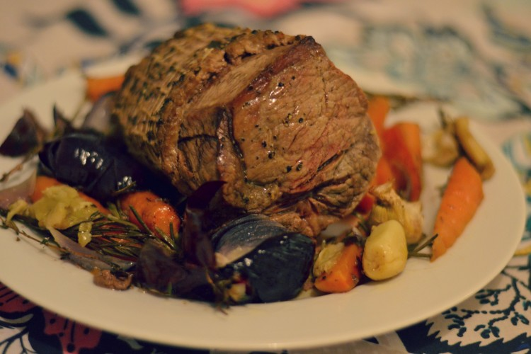 Roast beef, herbs, and vegetables