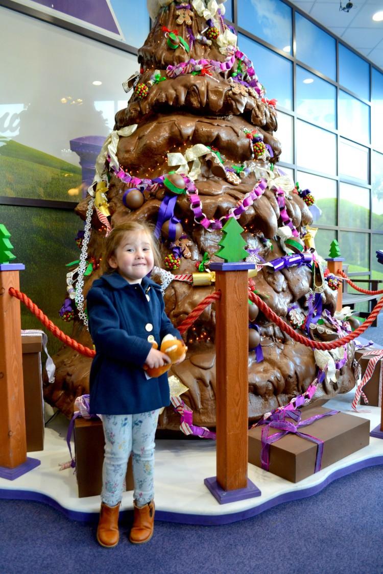 chocolate christmas tree at cadbury world