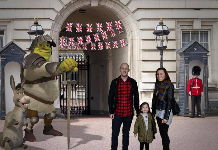 at Buckingham Palace with Shrek